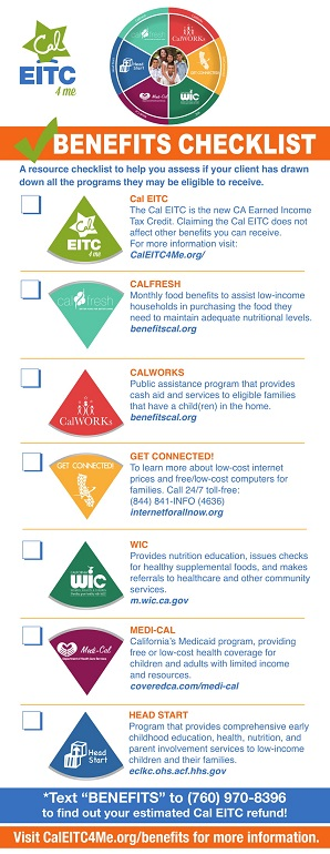 PHFE WIC program benefits checklist CalEITC CalFresh CalWORKS Medi-Cal Head Start